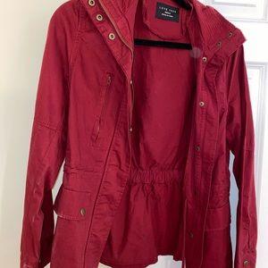Deep red cute jacket.